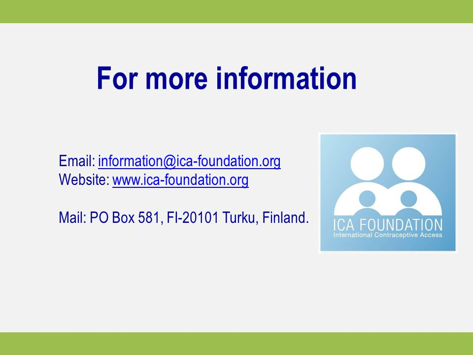 For more information Email: information@ica-foundation.org.