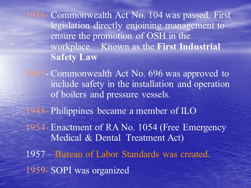 1936-. Commonwealth Act No. 104 was passed. First