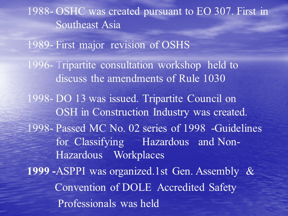 1988- OSHC was created pursuant to EO 307. First in Southeast Asia