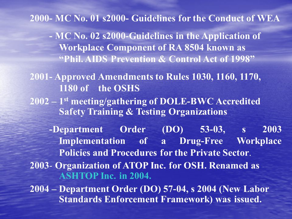2000- MC No. 01 s2000- Guidelines for the Conduct of WEA
