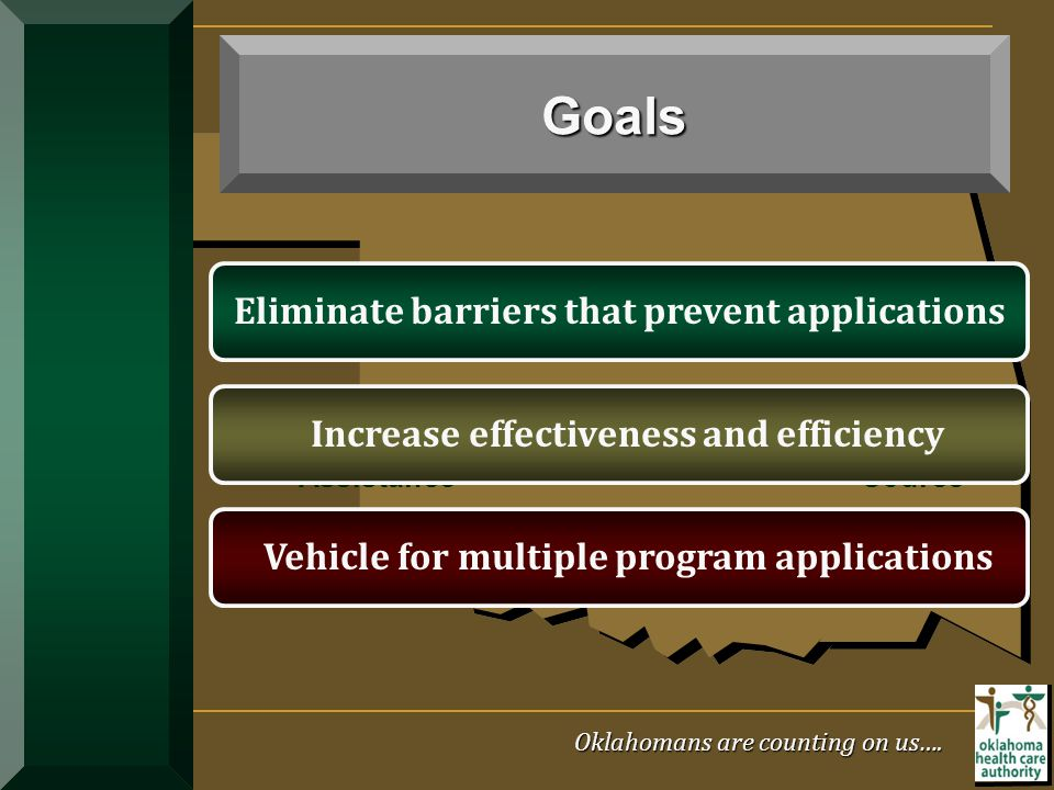 Goals Eliminate barriers that prevent applications
