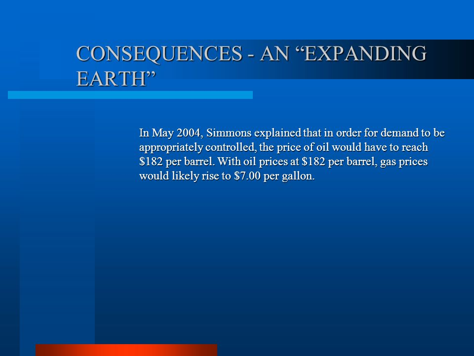 CONSEQUENCES - AN EXPANDING EARTH