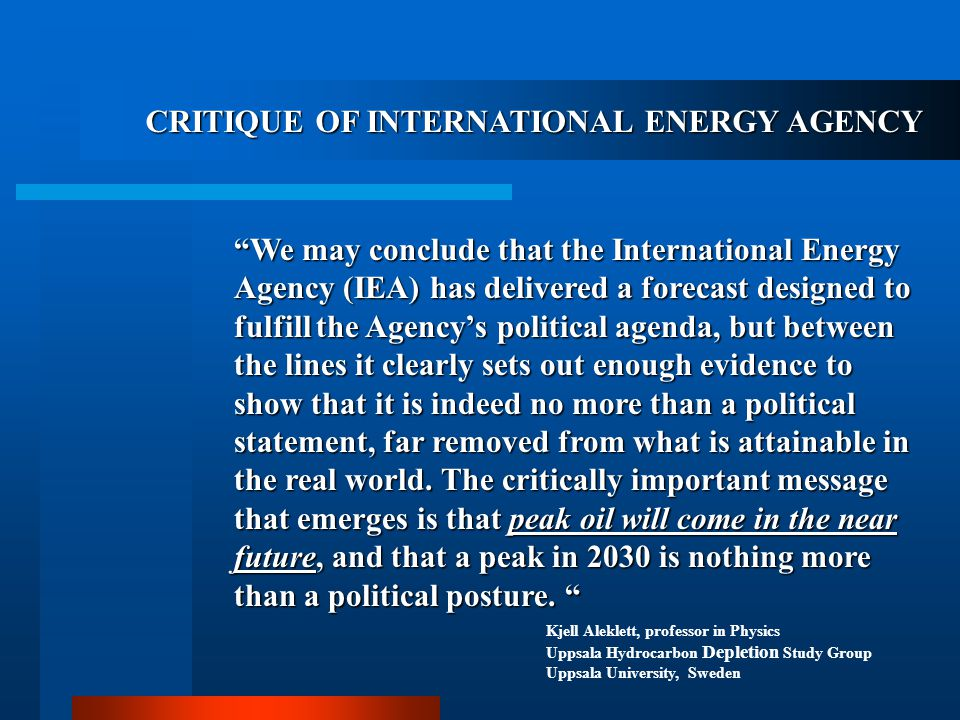 CRITIQUE OF INTERNATIONAL ENERGY AGENCY