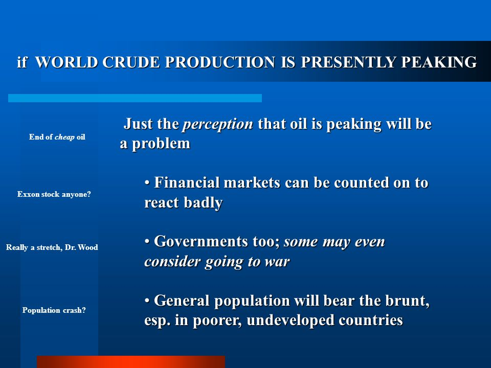 if WORLD CRUDE PRODUCTION IS PRESENTLY PEAKING