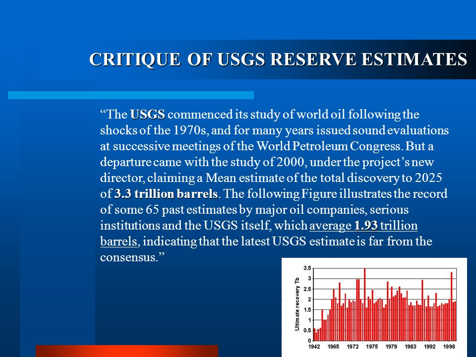 CRITIQUE OF USGS RESERVE ESTIMATES