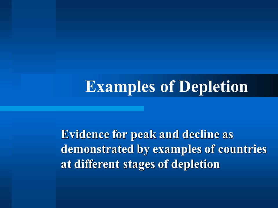Examples of Depletion Evidence for peak and decline as demonstrated by examples of countries at different stages of depletion.