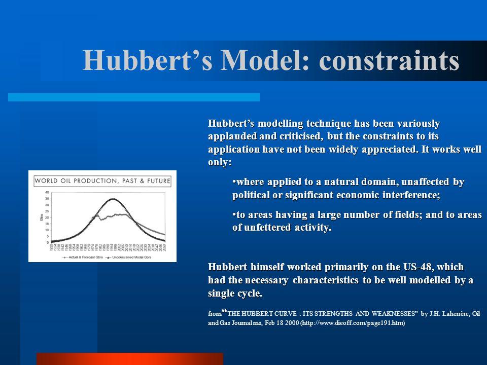 Hubbert's Model: constraints