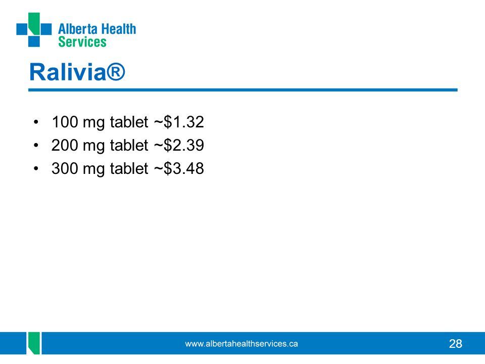 Ralivia® 100 mg tablet ~$1.32 200 mg tablet ~$2.39