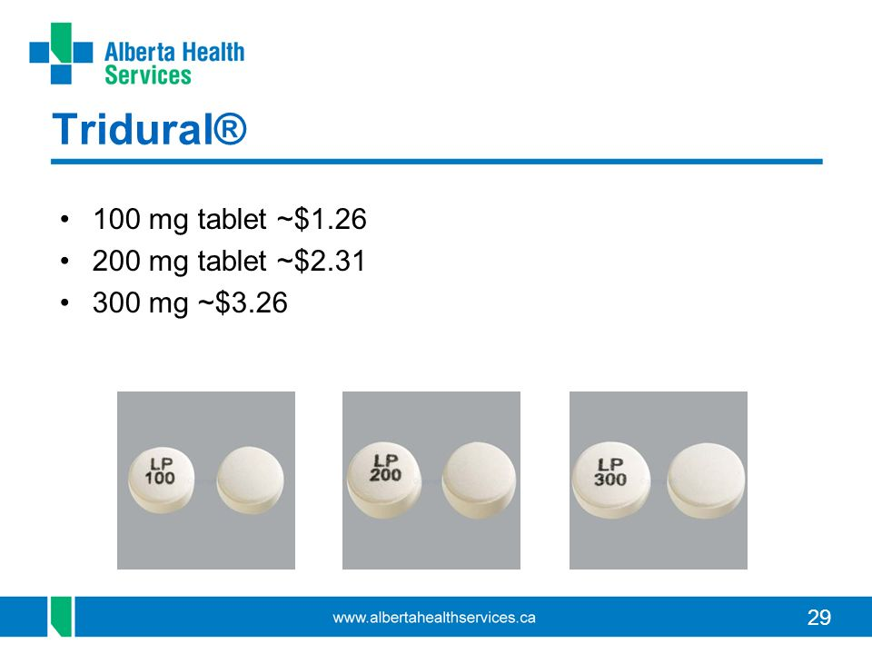 Tridural® 100 mg tablet ~$1.26 200 mg tablet ~$2.31 300 mg ~$3.26