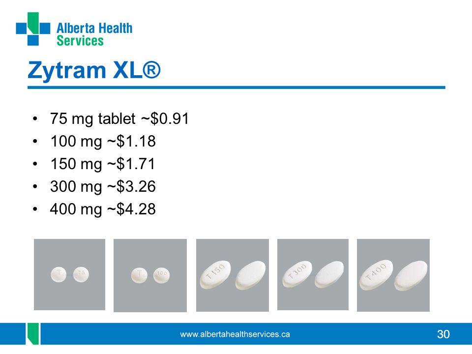 Zytram XL® 75 mg tablet ~$0.91 100 mg ~$1.18 150 mg ~$1.71