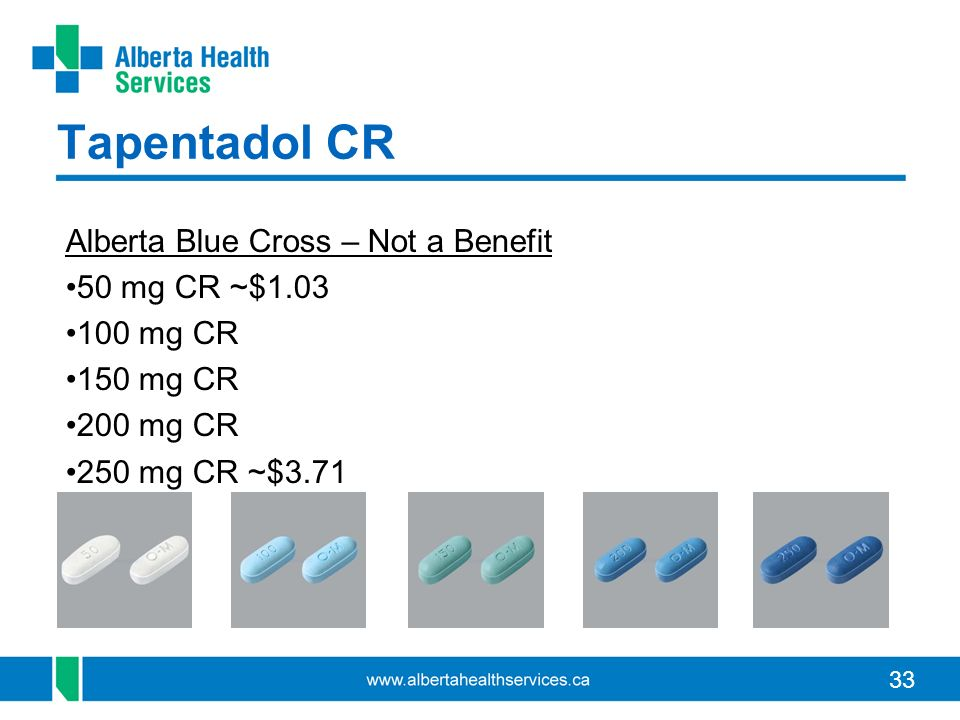 Tapentadol CR Alberta Blue Cross – Not a Benefit 50 mg CR ~$1.03