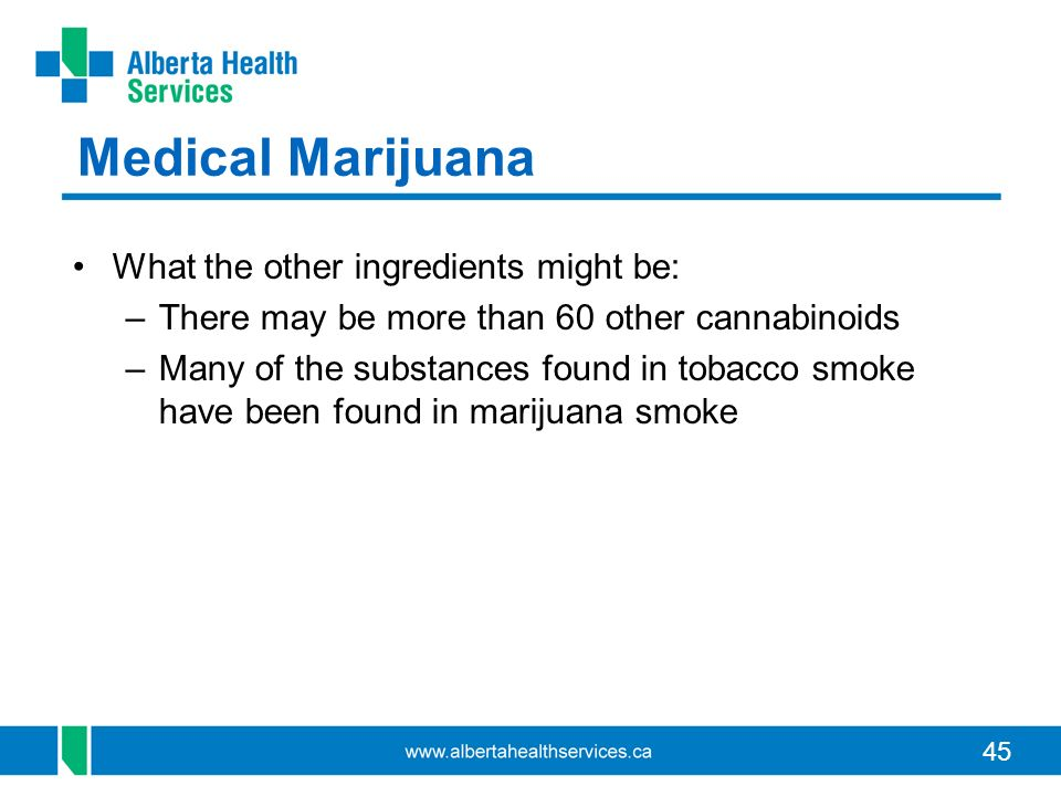 Medical Marijuana What the other ingredients might be: