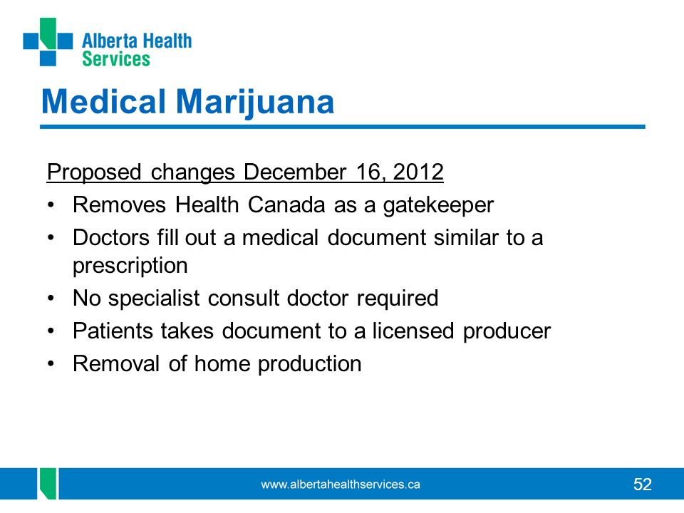 Medical Marijuana Proposed changes December 16, 2012