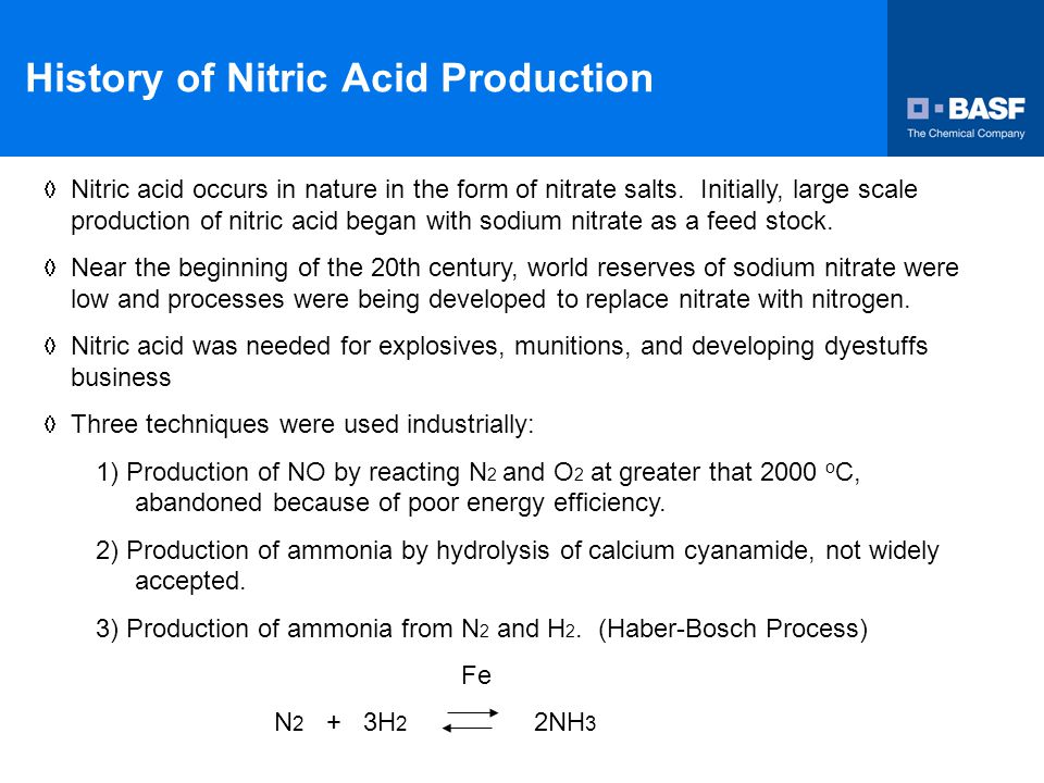 History of Nitric Acid Production