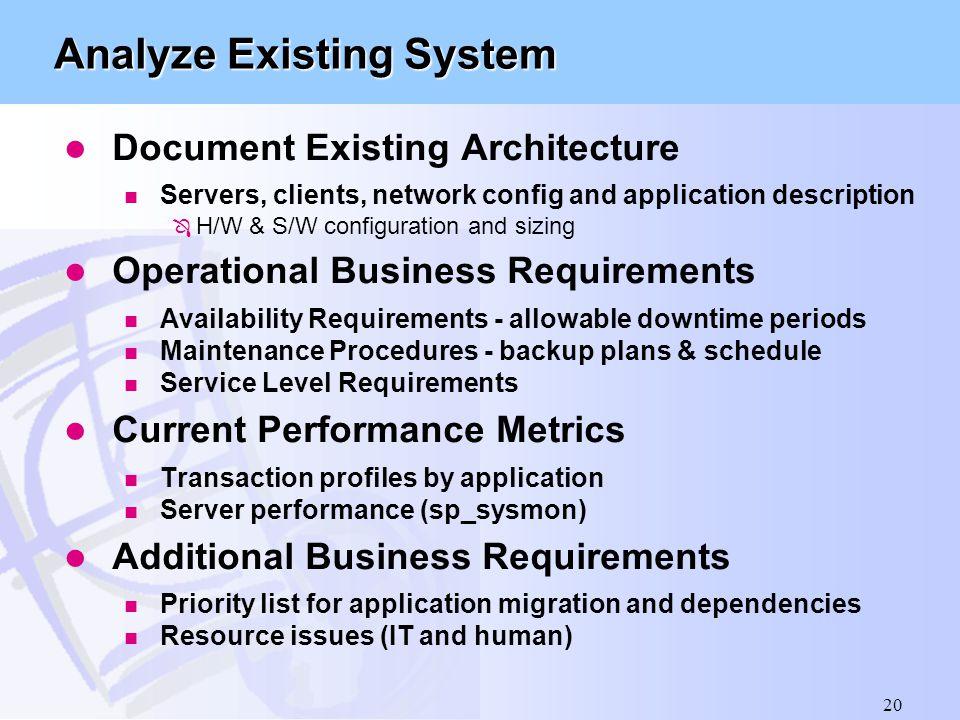 Analyze Existing System