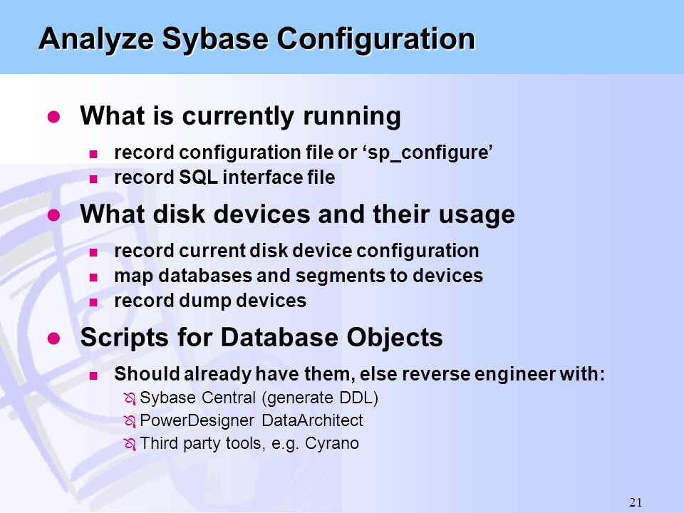 Analyze Sybase Configuration