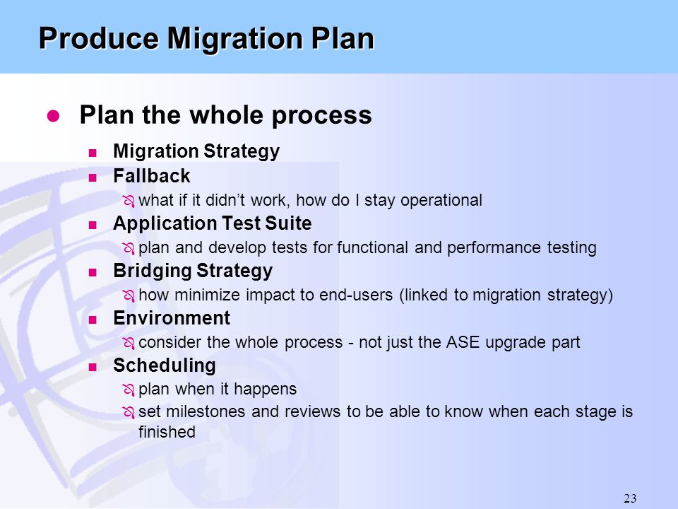 Produce Migration Plan