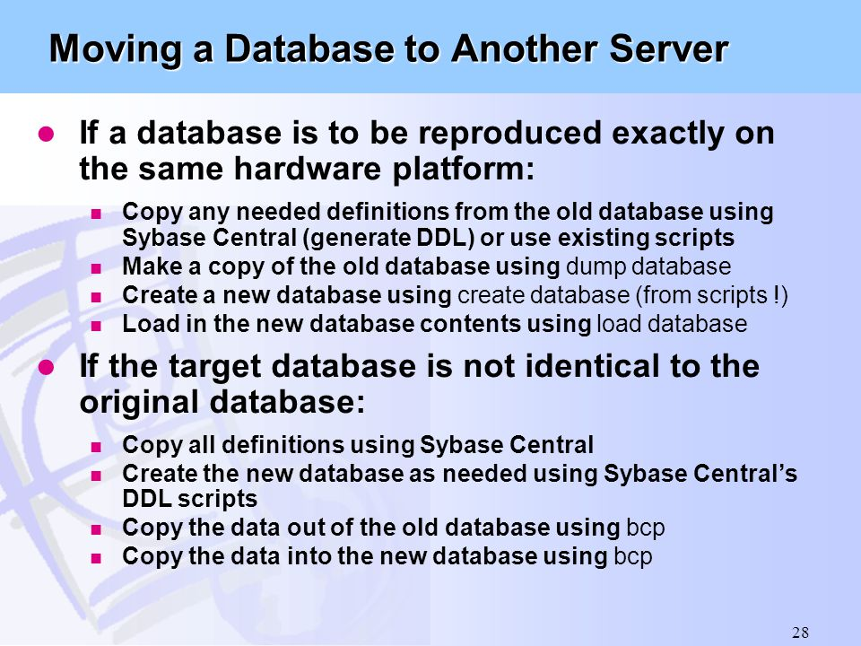 Moving a Database to Another Server