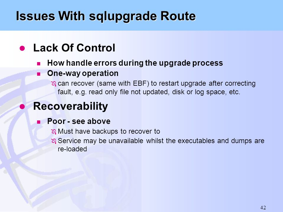 Issues With sqlupgrade Route