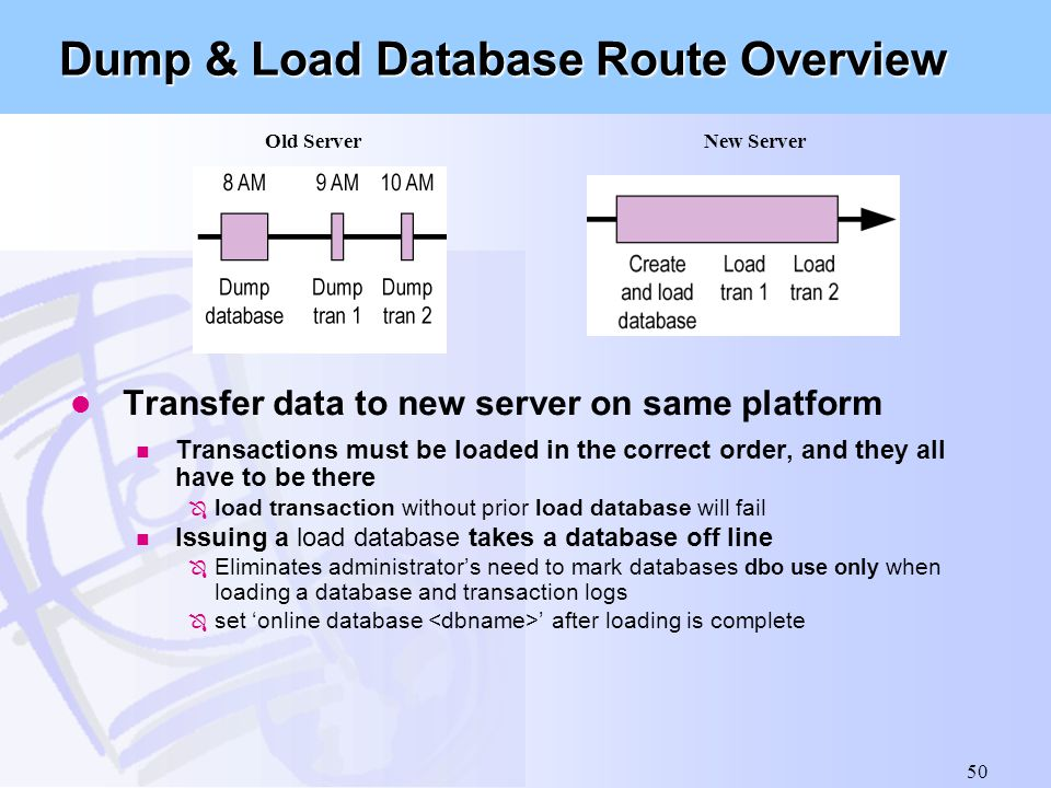 Dump & Load Database Route Overview