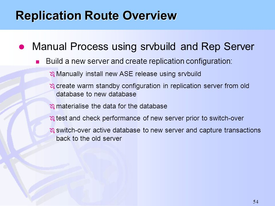 Replication Route Overview