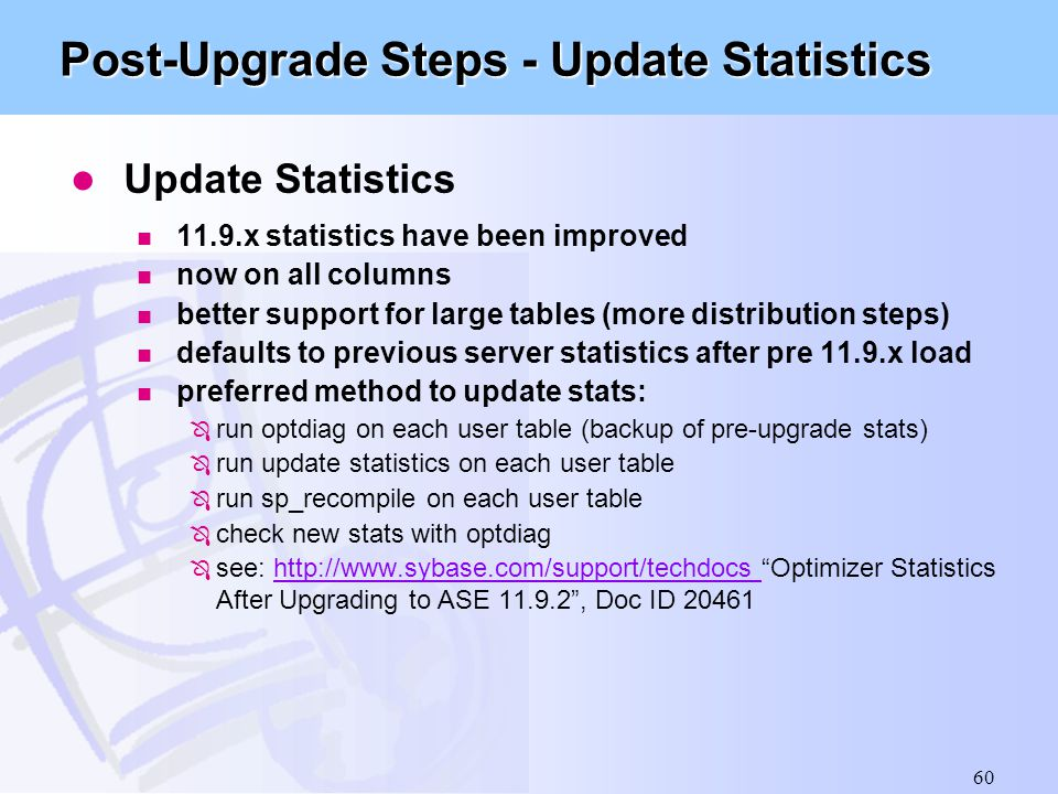 Post-Upgrade Steps - Update Statistics