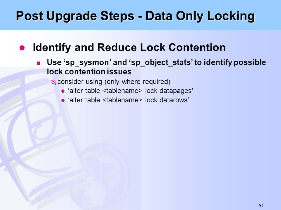Post Upgrade Steps - Data Only Locking
