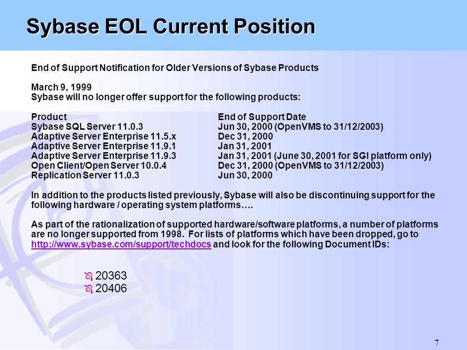 Sybase EOL Current Position