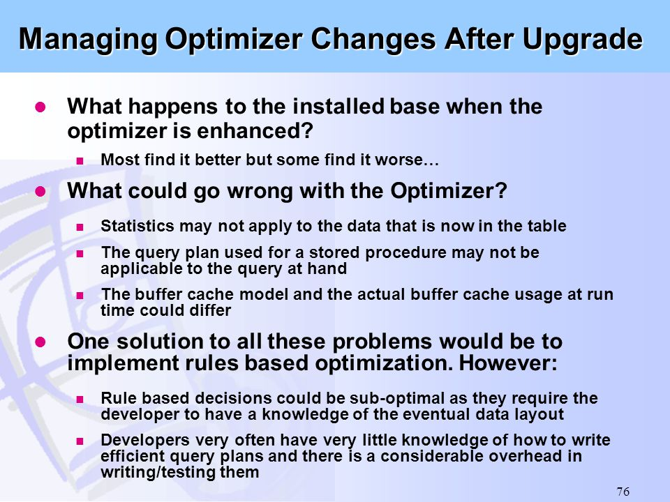 Managing Optimizer Changes After Upgrade
