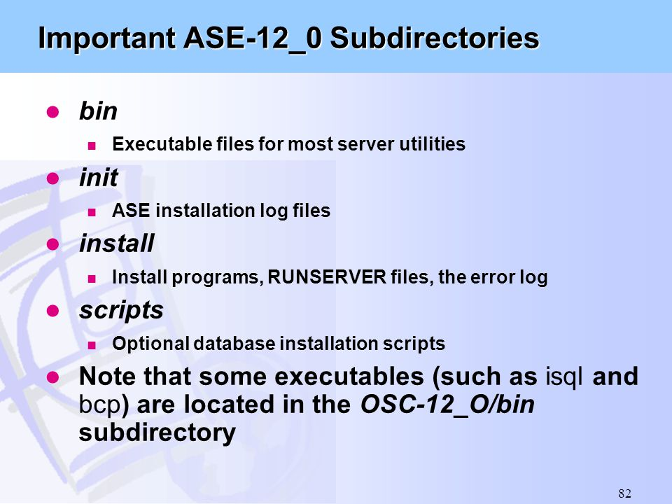 Important ASE-12_0 Subdirectories