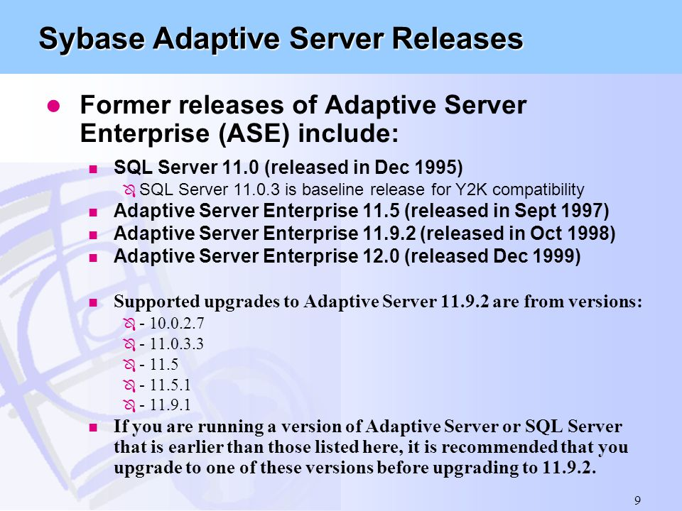 Sybase Adaptive Server Releases