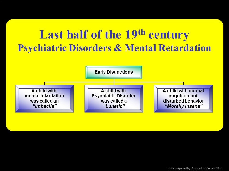 Last half of the 19th century Psychiatric Disorders & Mental Retardation
