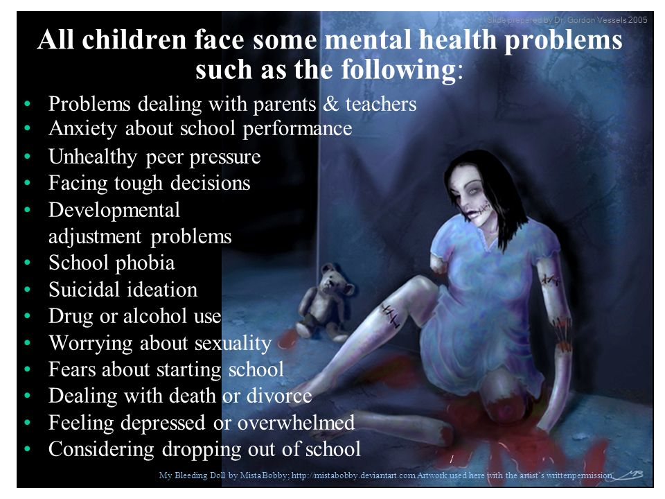 All children face some mental health problems such as the following: