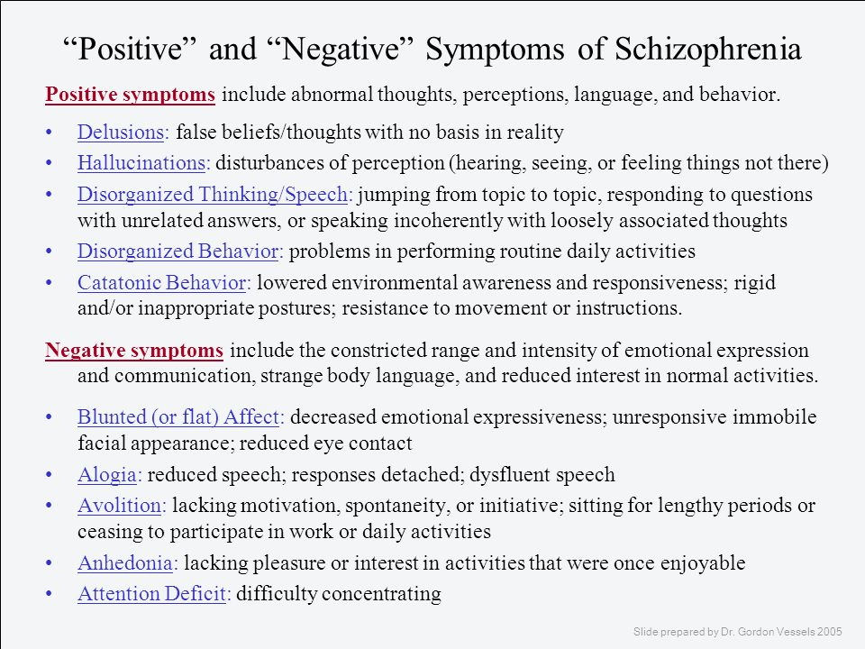 Positive and Negative Symptoms of Schizophrenia