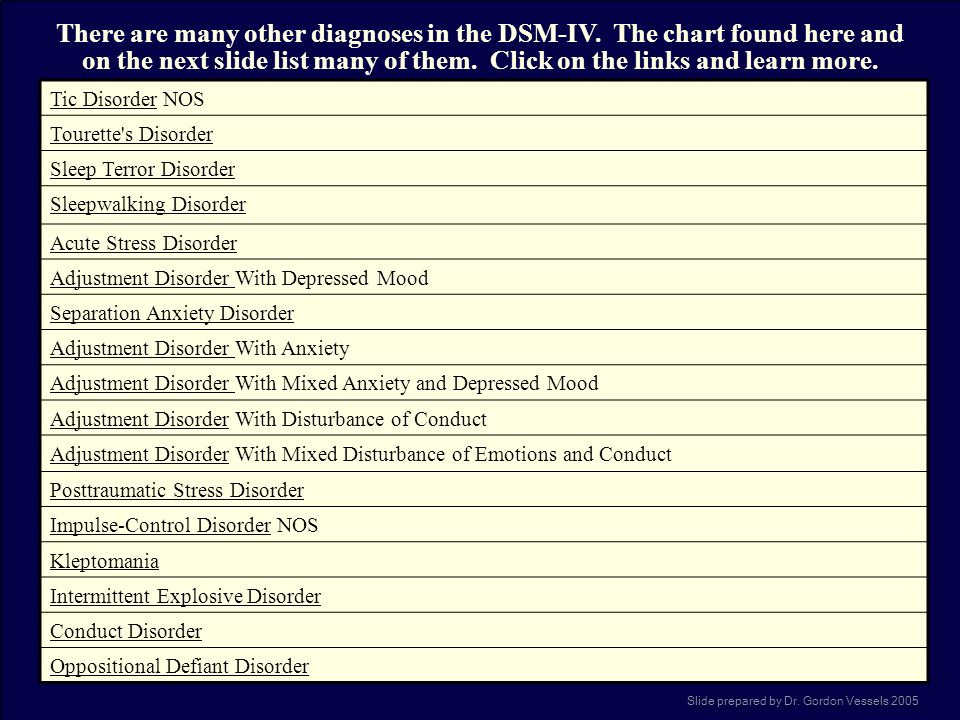 There are many other diagnoses in the DSM-IV
