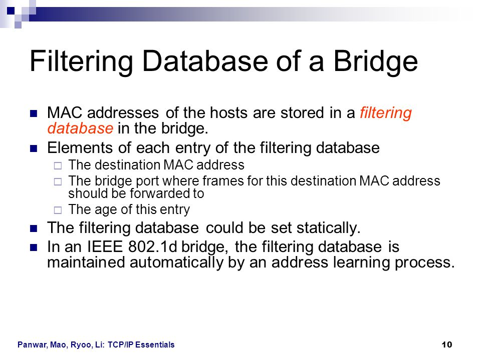 Filtering Database of a Bridge