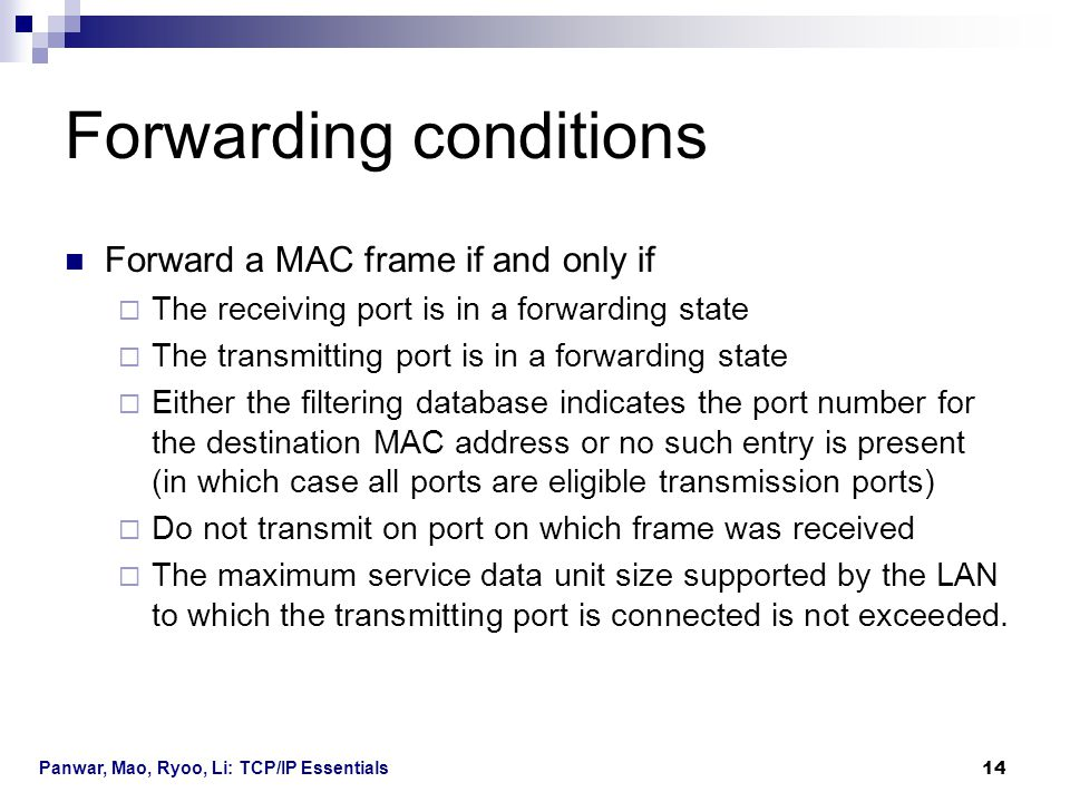 Forwarding conditions