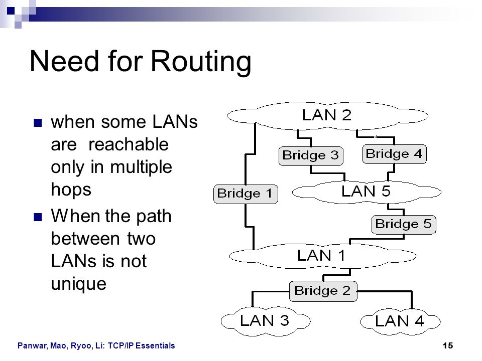 Need for Routing when some LANs are reachable only in multiple hops