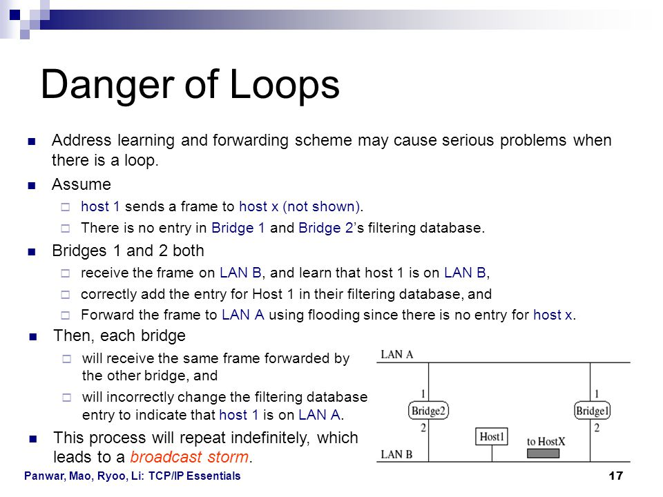 Danger of Loops Address learning and forwarding scheme may cause serious problems when there is a loop.