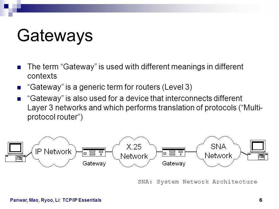 Gateways The term Gateway is used with different meanings in different contexts. Gateway is a generic term for routers (Level 3)