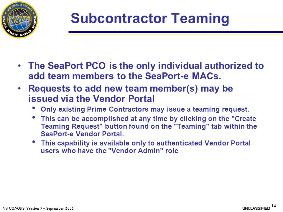 Subcontractor Teaming