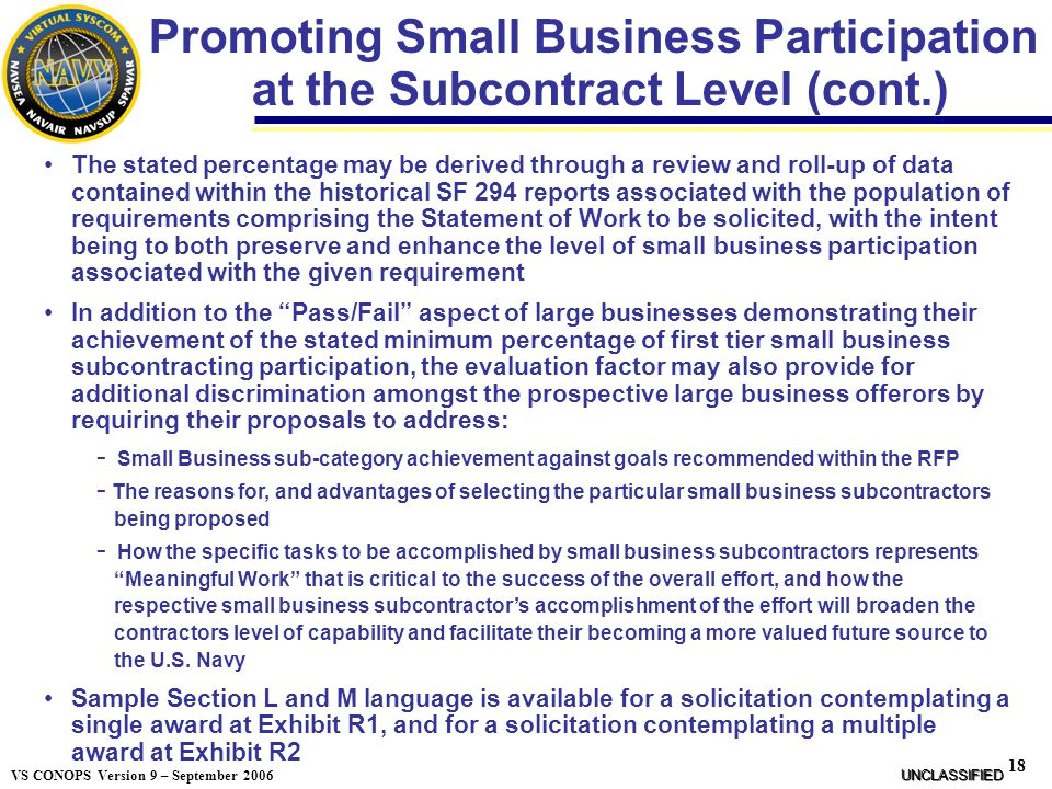 Promoting Small Business Participation at the Subcontract Level (cont