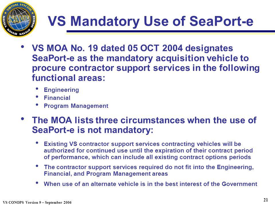 VS Mandatory Use of SeaPort-e