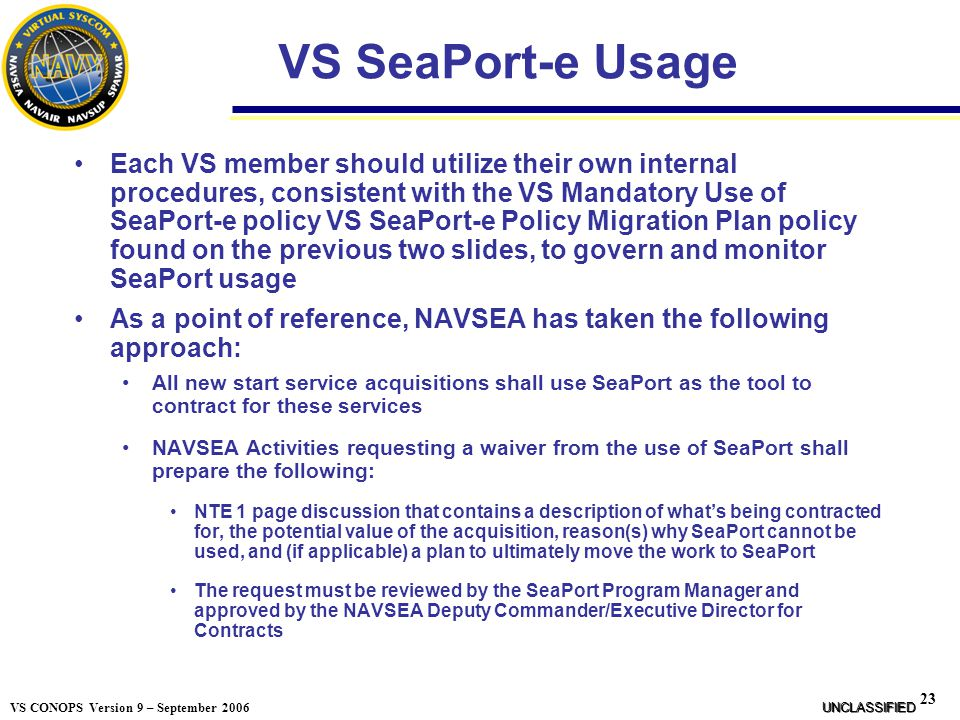 VS SeaPort-e Usage