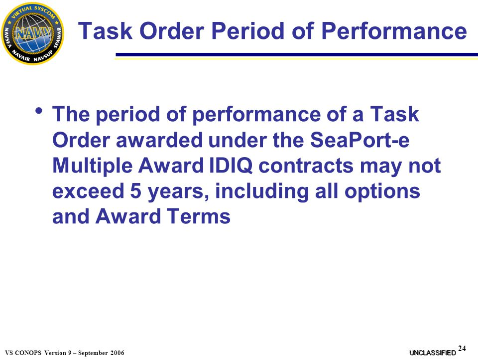 Task Order Period of Performance