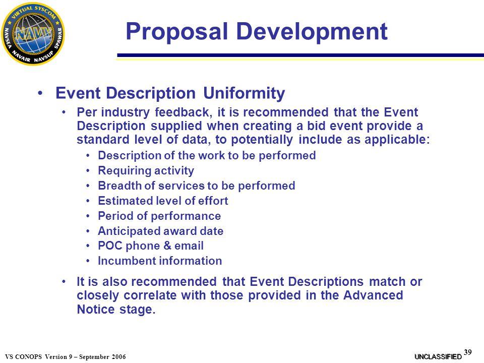 Proposal Development Event Description Uniformity