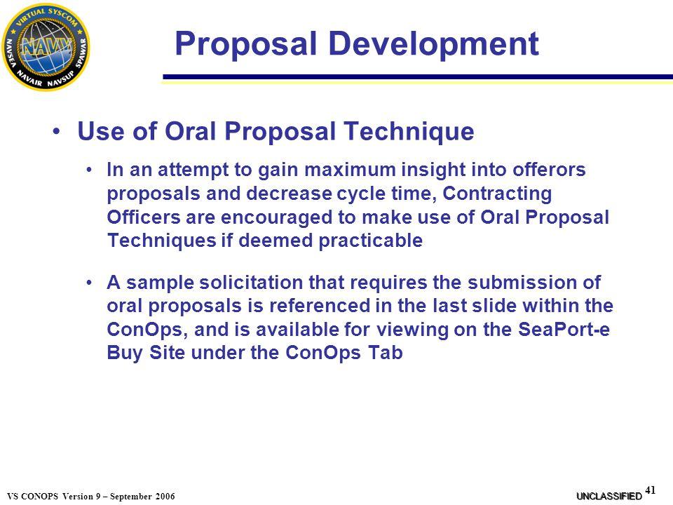 Proposal Development Use of Oral Proposal Technique