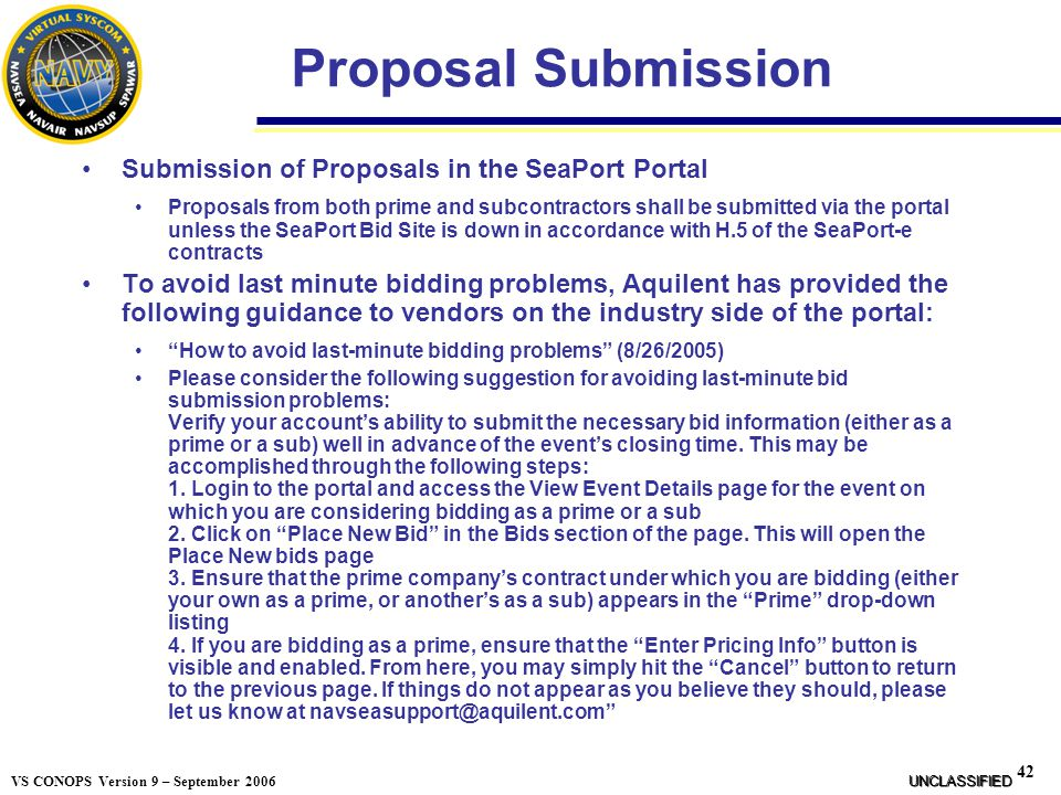Proposal Submission Submission of Proposals in the SeaPort Portal