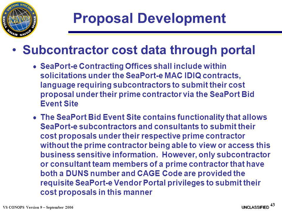 Proposal Development Subcontractor cost data through portal