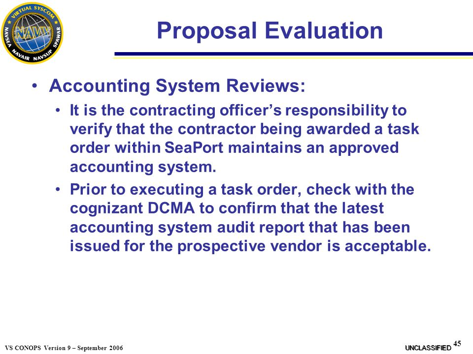 Proposal Evaluation Accounting System Reviews: